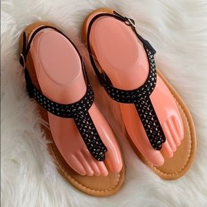 Bamboo Embellished Thong Sandals, 8 - NWOT